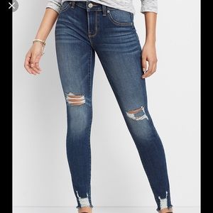 Maurices Denim Flex High Rise Shredded Hem Jegging